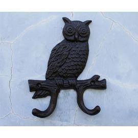 歐美復古鑄鐵鐵藝掛鉤衣帽雜物家居裝飾掛鉤貓頭鷹雙掛鉤墻掛壁飾