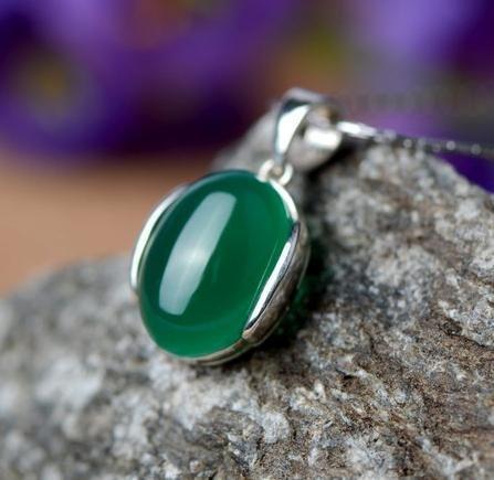七夕節送女友禮物 銀飾品 戒指潮人 女款個性綠瑪瑙項鏈