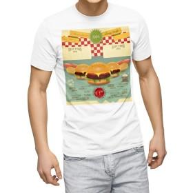 igsticker プリント Tシャツ メンズ 2XL size おしゃれ クルーネック 白 ホワイト t-shirt 006345 ユニーク 英語 レトロ ハンバーガー
