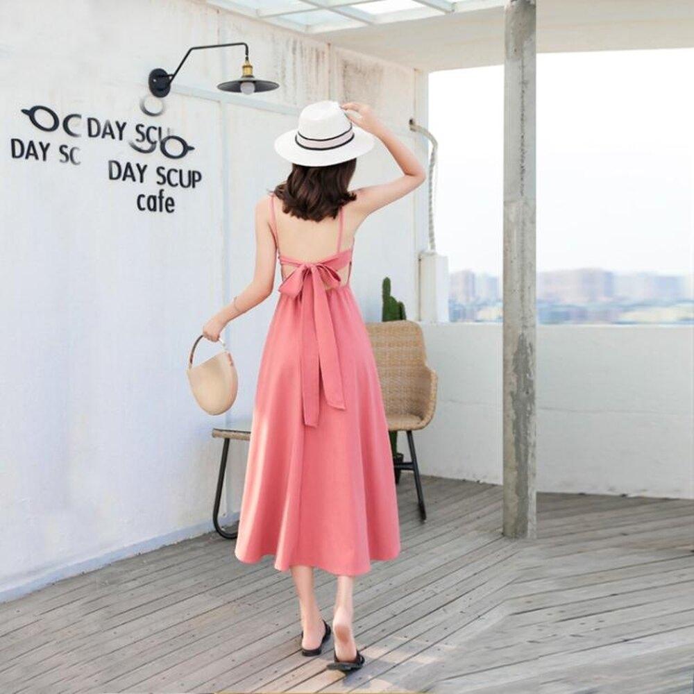 普吉島沙灘裙女夏2019新款海邊度假套裝紅色洋裝泰國旅 【限時特惠】