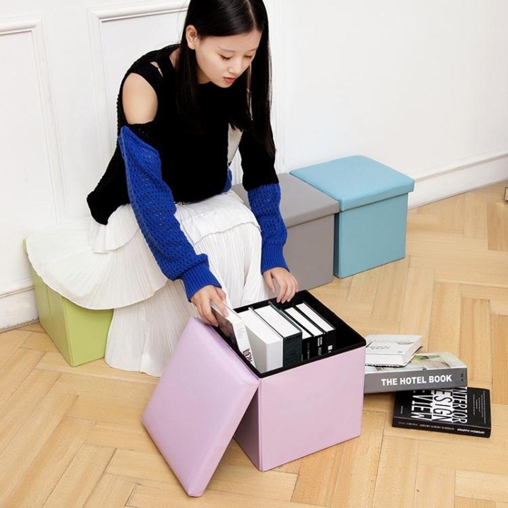 儲物凳 家用皮革沙發凳收納凳子儲物凳可坐成人折疊多功能玩具整理箱有蓋 領券下定更優惠