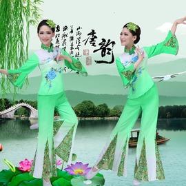 淺綠色S新款秧歌服特價中老年腰鼓服廣場舞民族舞蹈演出服古典扇子舞