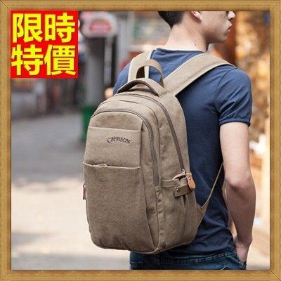 帆布包 後背包-韓版休閒純色雙肩男包包2色67g30【獨家進口】【米蘭精品】