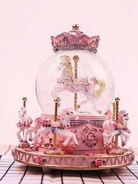 旋轉木馬水晶球八音盒音樂盒生日禮物女生閨蜜diy韓國創意走心的   伊卡萊生活館  聖誕節禮物
