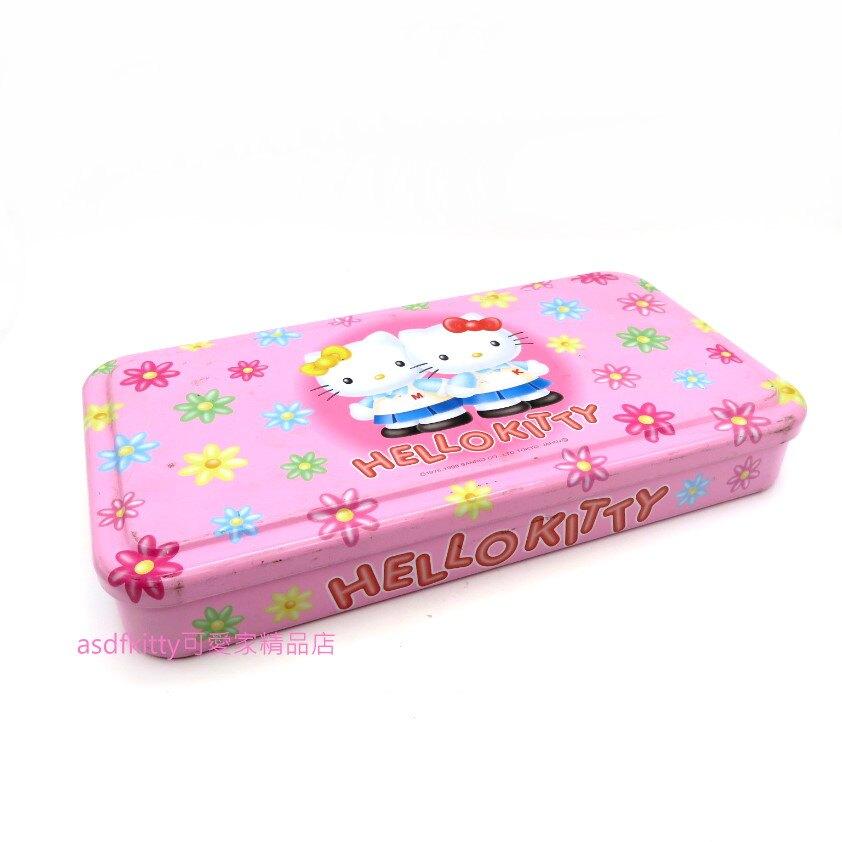 asdfkitty可愛家☆二手商品出清-KITTY雙胞胎鐵盒/置物盒/收納盒-表面有稍微磨損-日本正版商品