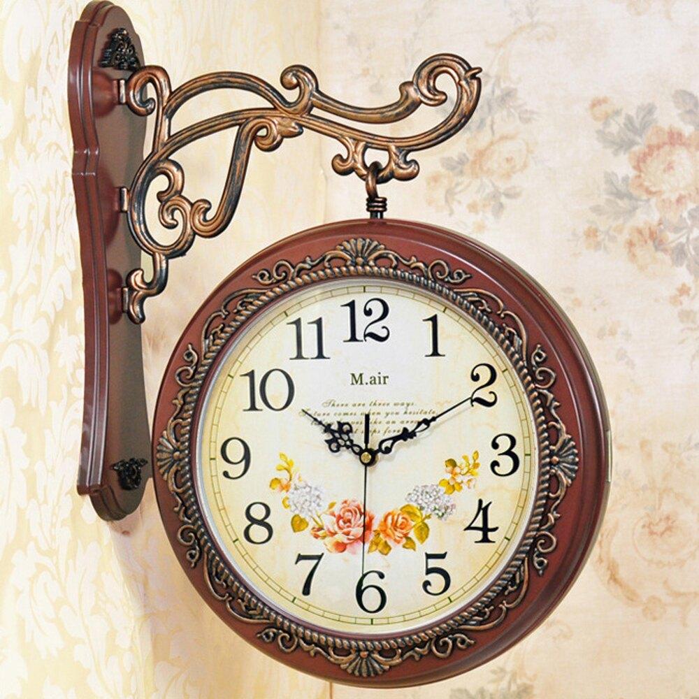 邁爾雙面掛鐘客廳鐘錶掛錶靜音時鐘歐式創意現代兩面石英雙面鐘錶     【歡慶新年】