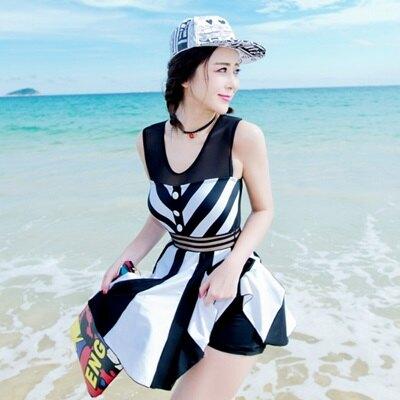 連身泳衣裙式泳裝-韓版時尚黑白條紋女泳具73mc10【獨家進口】【米蘭精品】