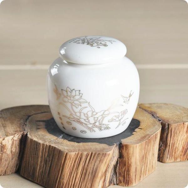 小號色釉貼花茶葉罐 (白)