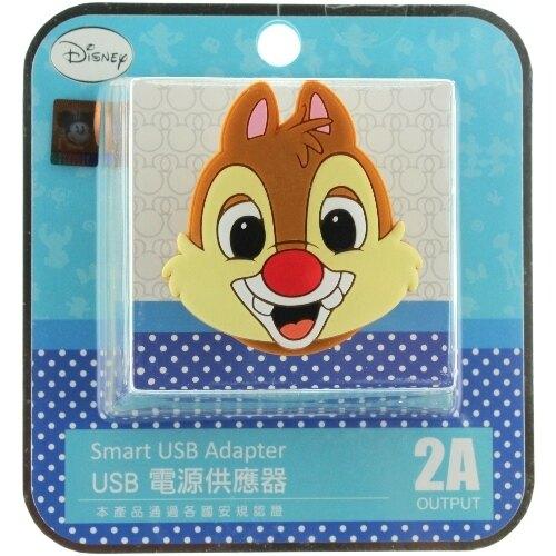 【Disney】立體造型2A充電轉接插頭 USB轉接頭-蒂蒂◆贈送!黃色小鴨耳機塞◆
