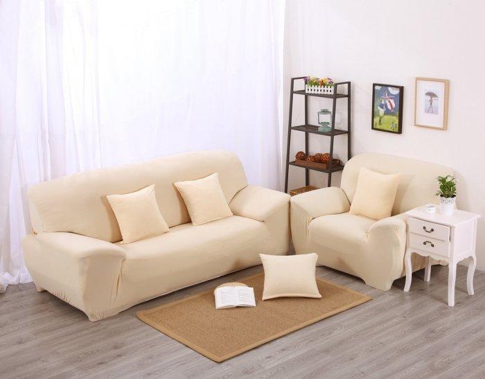 【RS Home】單人座沙發套[加送抱枕套]彈性沙發套沙發墊沙發巾沙發布床墊保潔墊沙發彈簧床折疊沙發 [米白單人座]