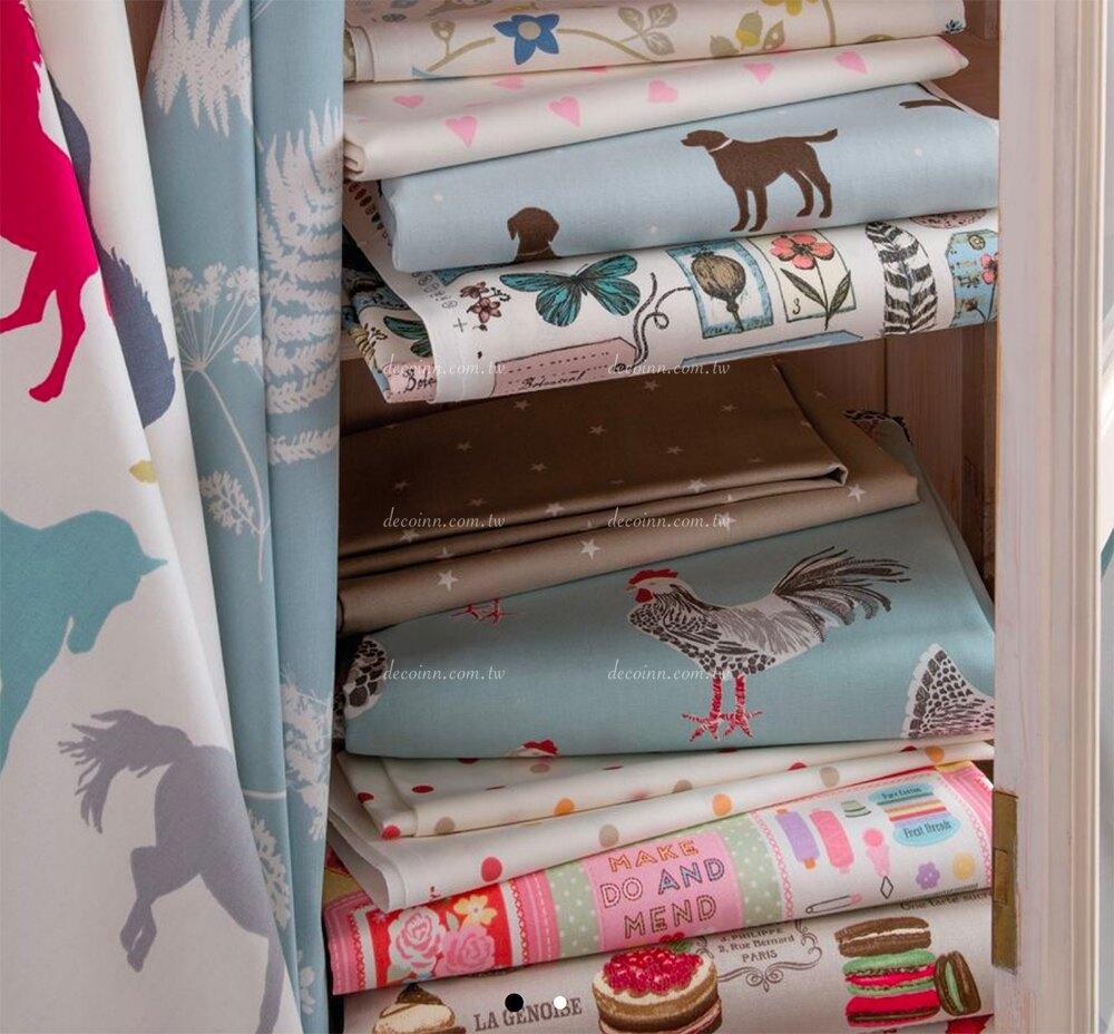 E246 英國進口窗簾布料 清新鄉村 可愛鳥籠 鳥兒蝴蝶 100%棉布印花(2色)