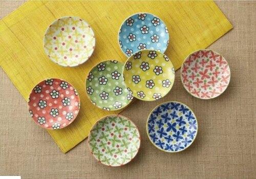 Moka/  繽彩小花食皿小盤8件組 | 美濃燒  木盒裝祝賀禮