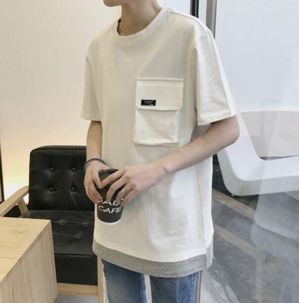 FINDSENSE品牌 男 時尚 街頭 潮 純色 口袋 假兩件  寬鬆 短袖T恤 特色短T
