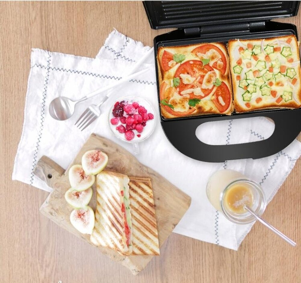 【220v】面包機 三明治機帕尼尼機早餐機三文治機熱壓吐司機家用多功烤面包機 全館85折起 JD