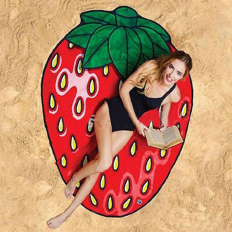 歐美風夏日夏天海灘居家趣味印刷印花造型沙灘墊沙灘坐墊披肩吸水浴巾-披薩/鳳梨/西瓜/草莓【AAA6004】