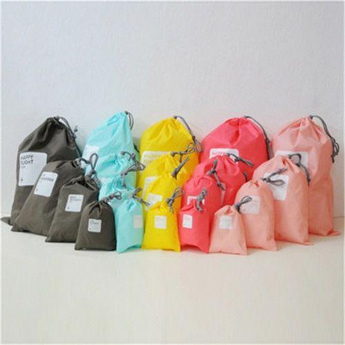 ✤宜家✤旅行簡約抽繩束口袋 (四件套) 便攜糖果色收納袋 整理袋