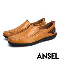 【Ansel】真皮舒適軟底手工縫線紳士樂福鞋 黃