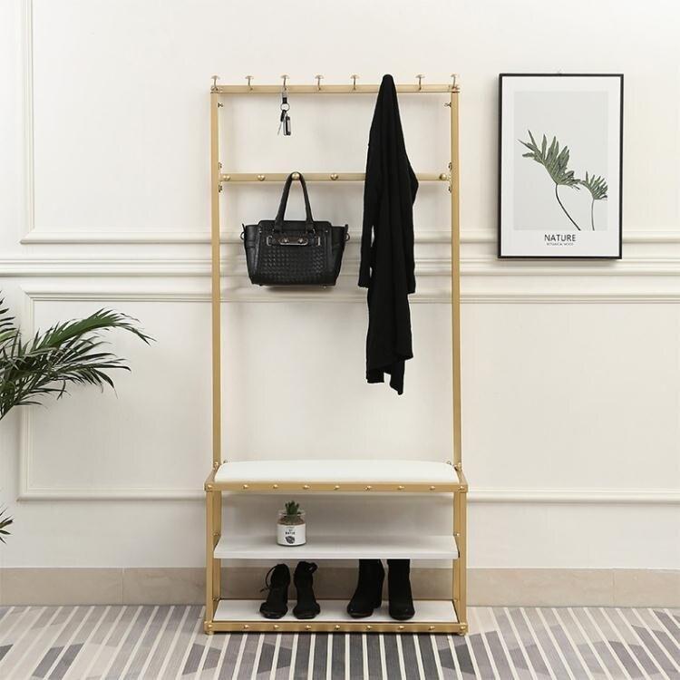 北歐門口實木換鞋凳衣帽架落地家用臥室掛衣架多層可坐穿鞋凳鞋櫃
