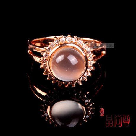 水晶月光石戒指 太陽形 能量超強