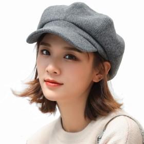MARUIKAO ベレー帽 ペインター八角形キャップ レトロ 無地 女性の秋と冬 帽子 灰色