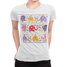 igsticker プリント Tシャツ レディース XLサイズ size おしゃれ クルーネック 白 ホワイト t-shirt 008135 アニマル ぞう 象 カラフル 花 フラワー