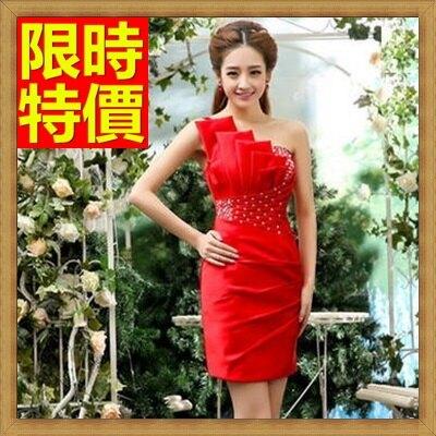 洋裝晚禮服-修身單肩短款晚宴服2色65c33【獨家進口】【米蘭精品】