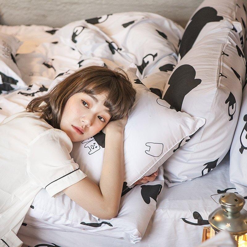 床包 / 雙人加大-100%精梳棉【經典黑白款-馬來貘的日常】含兩件枕套 獨家人氣插畫家 聯名款 戀家小舖 台灣製