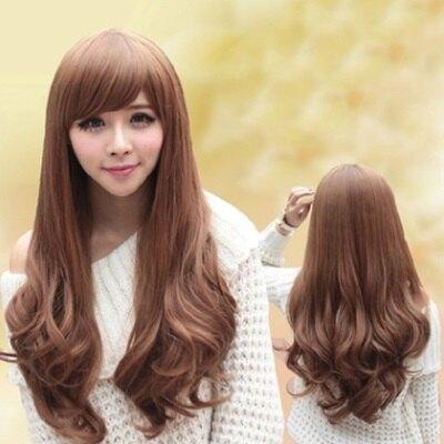 假髮整頂假髮長假髮-時尚捲髮氣質斜瀏海女配件3色73fi36【獨家進口】【米蘭精品】
