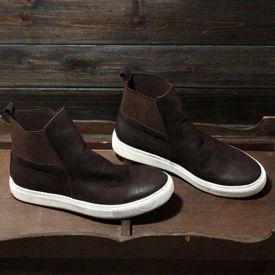 中筒靴真皮圓頭平跟靴子-英倫時尚簡約百搭男鞋3色73kv65【獨家進口】【米蘭精品】