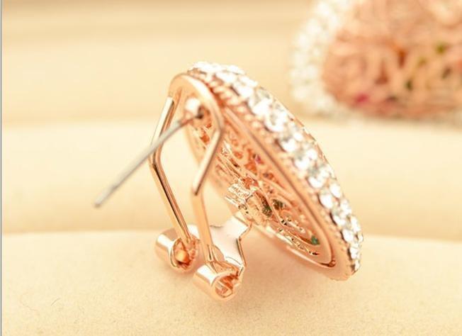 鏤空 玫瑰 三角彩色水晶耳釘耳飾女