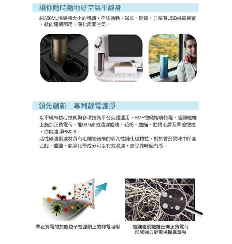JNL(原廠濾心)3M淨呼吸個人隨身型空氣清淨機FA-C20PT0 專用濾心四入一包