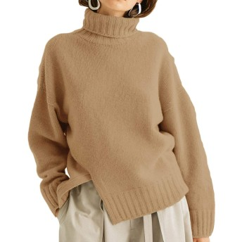 ハイネックセーター レディース ニットセーター タートルネック ニットトップス ゆったり 暖かい 上品 秋服冬服 保温防寒