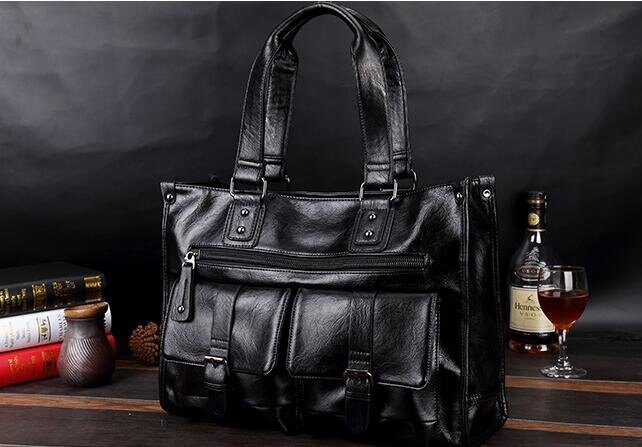 FINDSENSE品牌 韓國 新款  FIN韓國出品 包款 時尚 男士  多功能 手提包 商務 大容量 皮質 休閒包