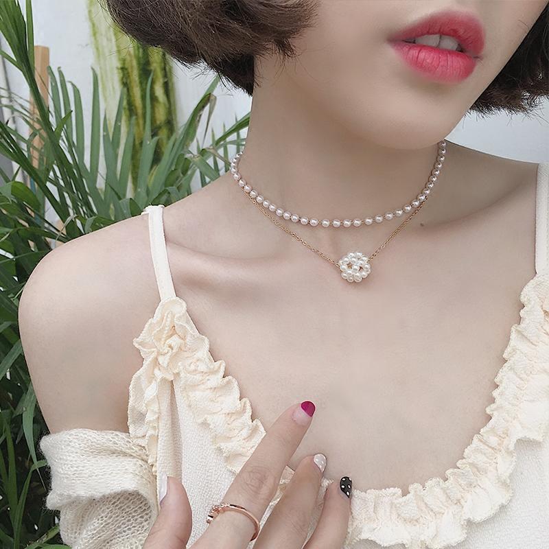 少女心珍珠Choker網紅毛衣鏈女小眾設計項鏈韓國簡約LOVE頸鏈學生1入