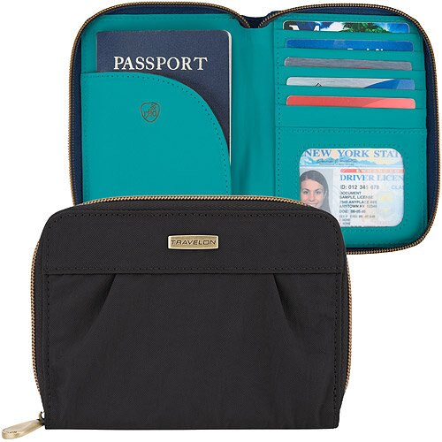 《TRAVELON》Signature摺紋拉鍊防護證件護照夾(黑)