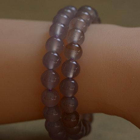 紫玉髓手鏈 原色瑪瑙手串 水晶飾品 小巧女款 8mm