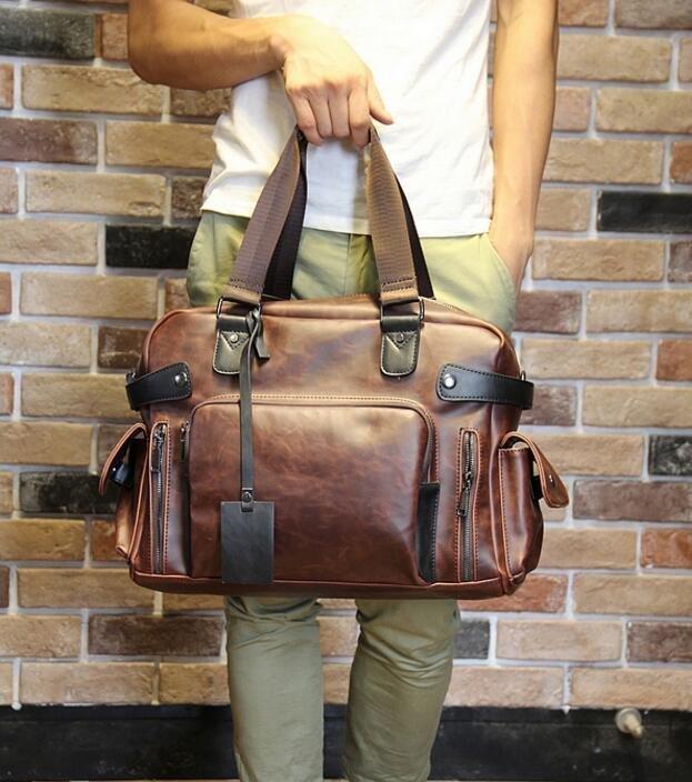 FINDSENSE Z1 韓國 時尚 潮 男 皮質 大容量 多功能 單肩包 旅行包 旅行袋 手提包 斜背包 側背包