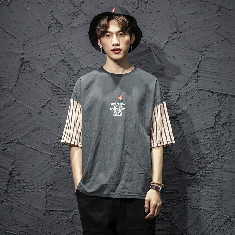 FINDSENSE H1 2018 夏季 個性 青春流行   文藝  T恤 潮流 寬鬆 短袖  時尚 男 體恤  上衣