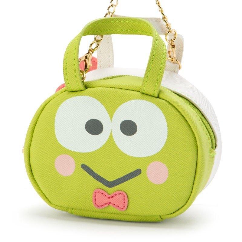 【領券折$30】小禮堂 大眼蛙 迷你皮質波士頓包掛飾收納包《綠白.雙面大臉》零錢包.吊飾