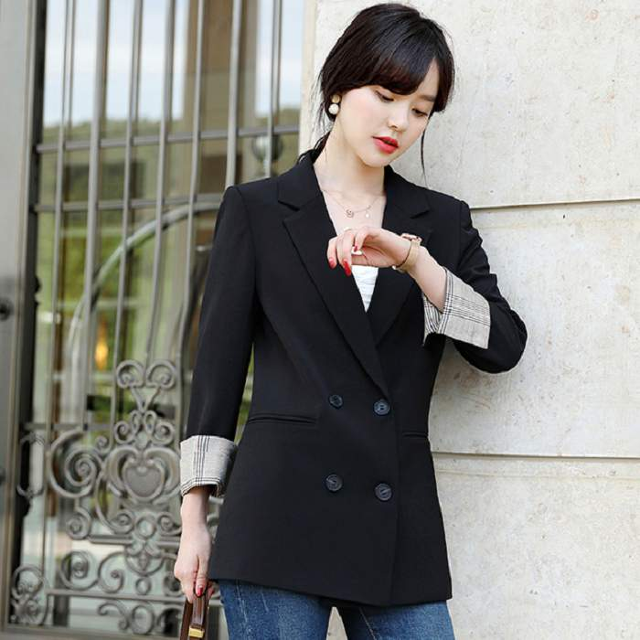時尚青春反折配色袖排釦直筒長袖西裝外套 [9X406-PF]灰姑娘
