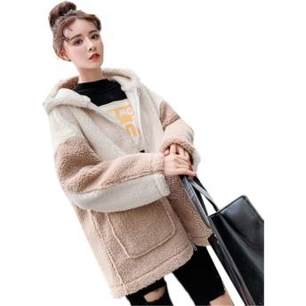 (グードコ) フェイクファー レディース もこもこ ムートンコート 厚手 裏起毛 ボアブルゾン 切り替え ジャケット 防寒 カジュアル シンプル おしゃれ (カーキ,L)