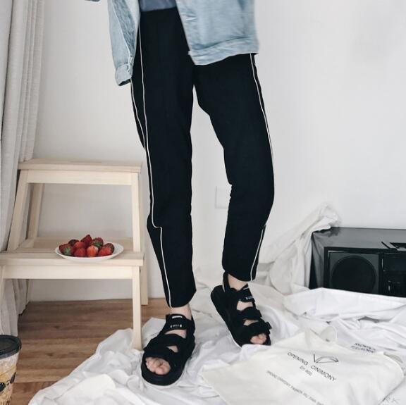 FINDSENSE MD 韓國 時尚休閒 潮 男 舒適百搭 魔術貼涼鞋 男女情侶 涼鞋 拖鞋 海灘鞋