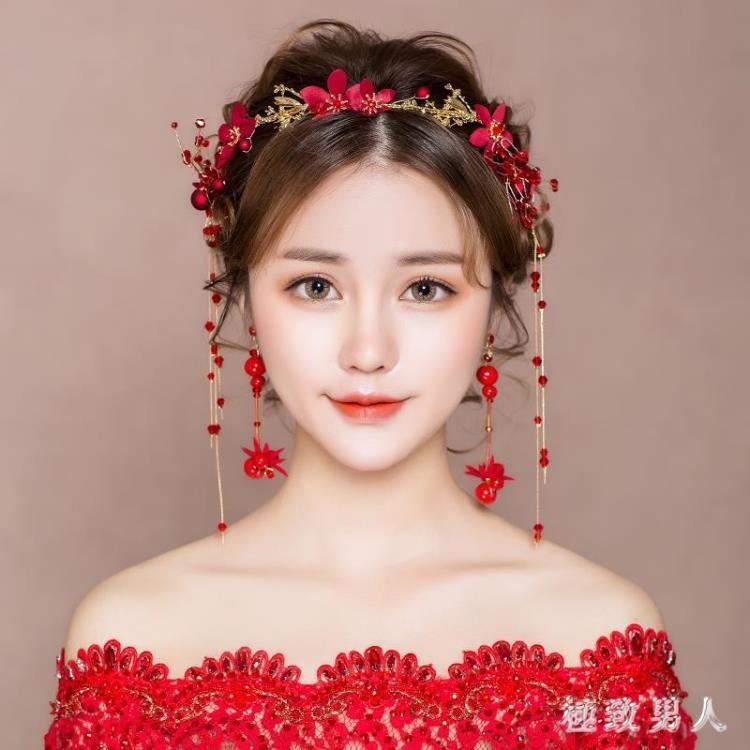 頭飾 新娘頭飾結婚紅色婚紗禮服發箍發飾套裝韓式婚禮超仙敬酒服配飾品 LN3685《小桃美衣》蝦皮上市《小桃美衣》新品上市
