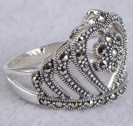 銀馬克賽戒指 銀宮廷複古花皇冠戒指環女潮人