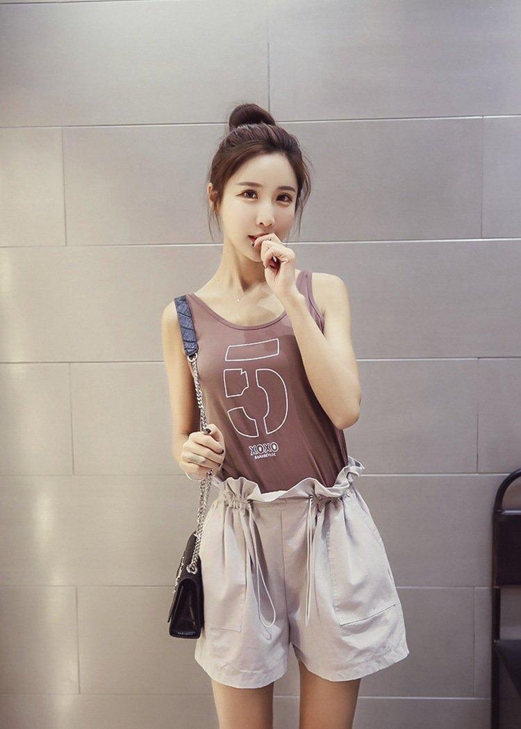 FINDSENSE G5 韓國時尚 夏季 學生 百搭 修身 顯瘦 數字 背心
