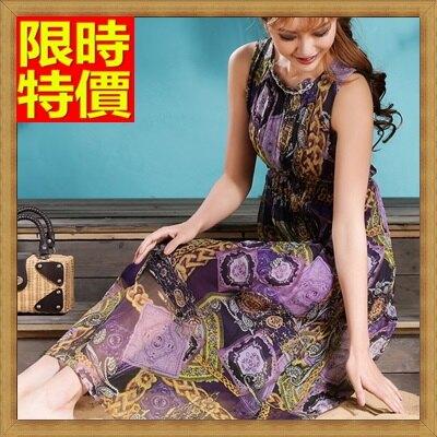 長洋裝波西米亞連衣裙-桑蠶絲圓領時尚印花高腰連身裙女裙子4色65af17【獨家進口】【米蘭精品】
