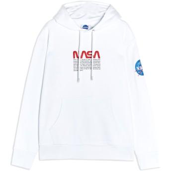《セール開催中》TOPMAN メンズ スウェットシャツ ホワイト M コットン 100% WHITE NASA HOODIE