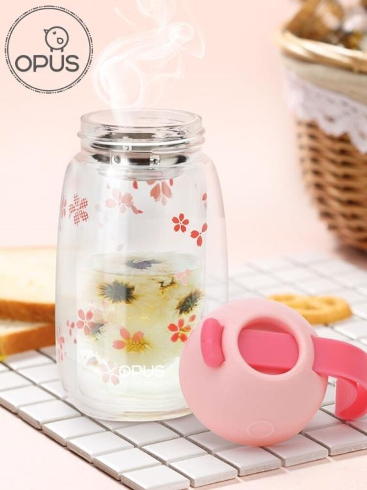 opus雙層玻璃杯 女士水杯子便攜泡茶杯可愛玻璃貓爪隨手杯花茶杯 三角衣櫃