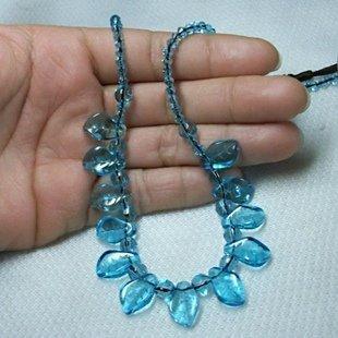 藍色水晶毛衣鏈 項鏈飾品