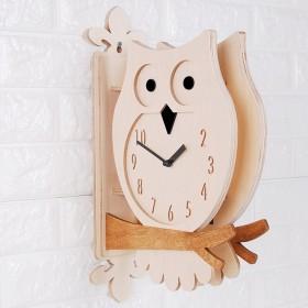 TIMEDECO(タイムデコ) Modern Interior Wooden Double Face Wall Clock おしゃれな 低騷音 モダン インテリア 両面壁掛け時計 Owl Double Clock(W)